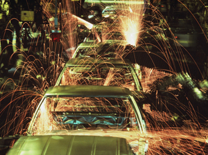 ca. 1990-2001 --- Automobile Assembly Line --- Image by © Charles O'Rear/CORBIS